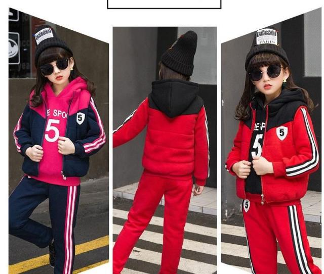 Children Tracksuits  Y Winter Cotton Pink Red Long Sleeve Cute Sport Suits School Girl Outfit Costume For Kids Teens Clothes From Xielisa