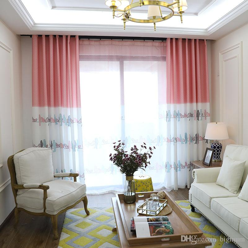 cute living room curtains gold 2019 children curtain birds floral printed for kids bedroom pastoral style drapes tulle fabric window treatment from bigmum