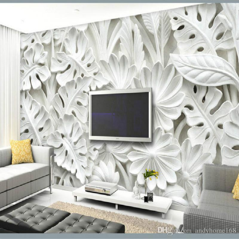 wallpaper decoration for living room design virtual leaf pattern plaster relief murals 3d walls tv backdrop bedroom wall painting hd pictures