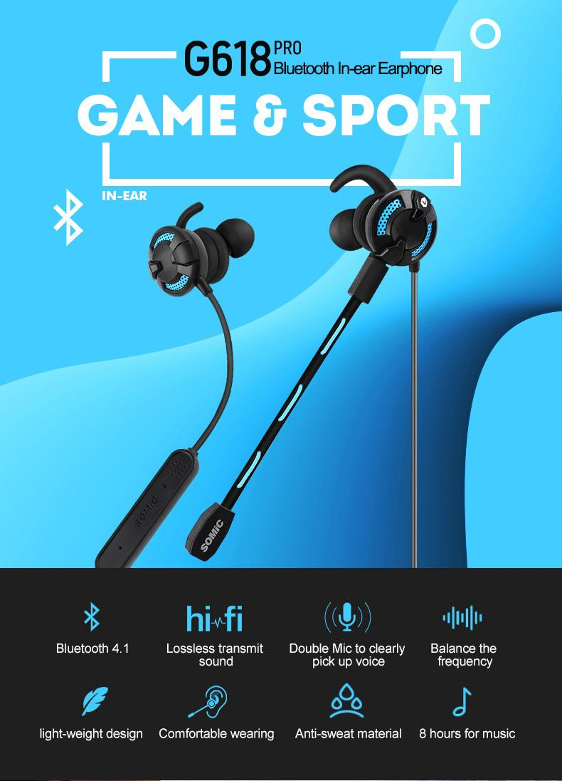 hight resolution of original g618pro wireless inear earphone bluetooth earbud v4 1 headset for mobile game sport music with detachable mic