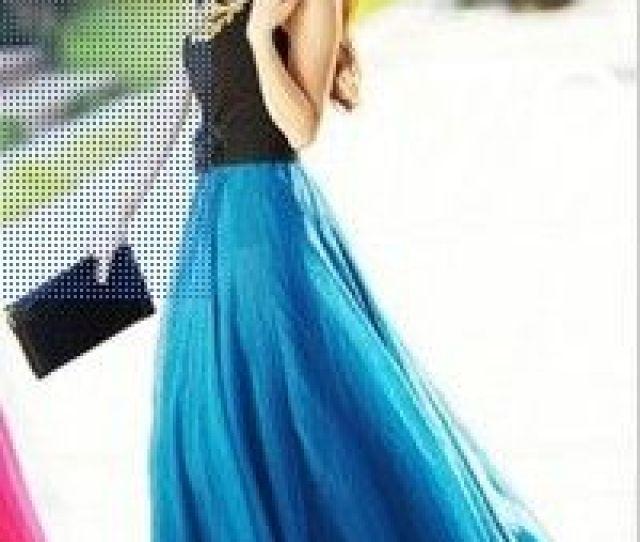 Summer Beach Bohemia Long Chiffon Skirt Flared Hem Chiffon Maxi Skirt With Elastic Waist Floor Length Silk Skirts
