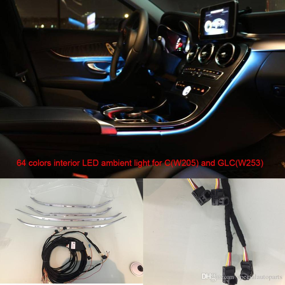 hight resolution of car interior 3 led ambient light door panel central control console light for mercedes benz c class w205 glcw253 c180 c200 interior led door panel