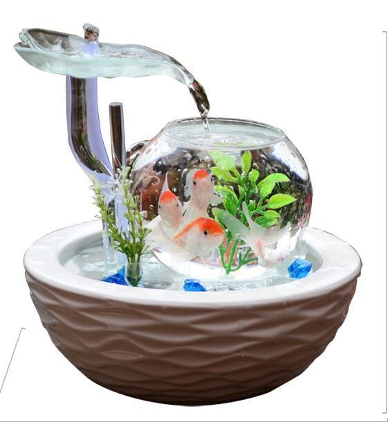 acheter fontaine conduit maison aquarium reservoir d eau cabinet geyser ornements verre en ceramique fontaine bureau bureau salon creative printemps cadeau