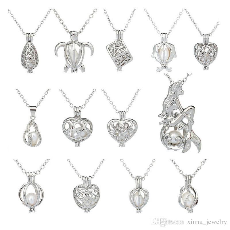 Wholesale Silver Pearl Cage Pendant Necklace With Oyster