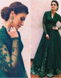 Emerald green arabic dresses long sleeve high neck lace  line floor length women formal prom gown muslim mother of bride dress plus size also rh dhgate