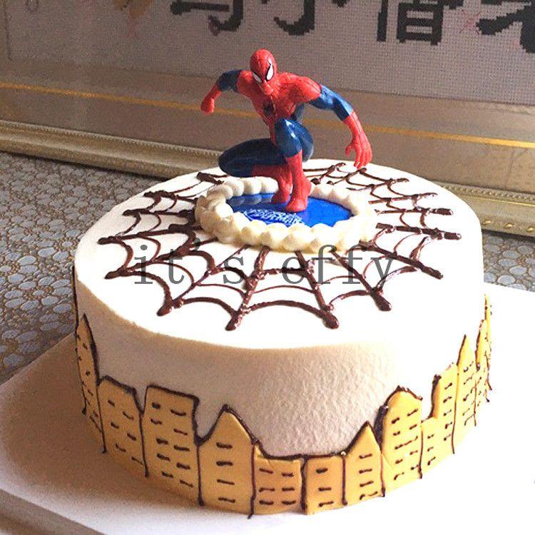 2019 Cartoon Spiderman Cake Hat Boy Party Cupcake Toppers Picks Kids