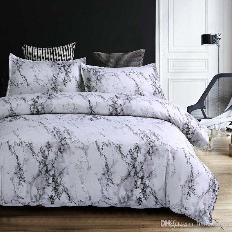 acheter moderne marbre imprime ensemble de literie bref gris blanc ensembles de couverture de couette unique reine roi taille lit quilt couverture taie