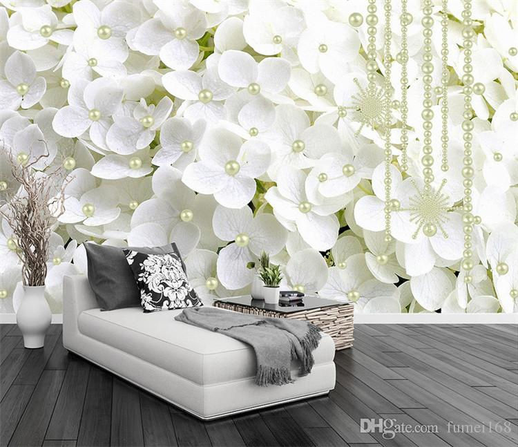 living room flowers decor ideas pictures modern abstract white pearl jewelry 3d stereo mural wallpaper bedroom backdrop art wall papers for walls 3 d canada 2019 from fumei168