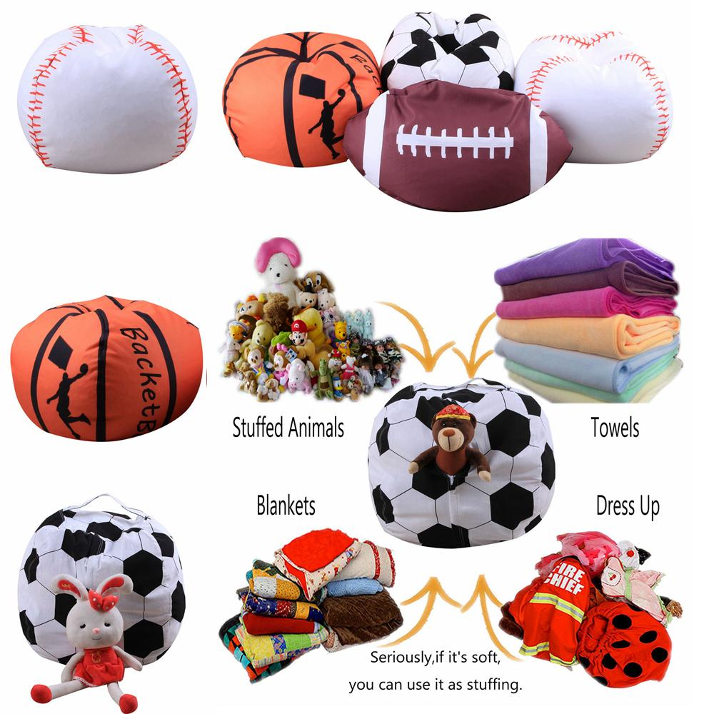 Basketball Bean Bag Chair 4 Designs 18 Inch Ball Bean Bag Football Basketball Baseball Storage Bean Bag Baby Stuffed Plush Pouch Bag Organizer Beanbag Chair Aaa225