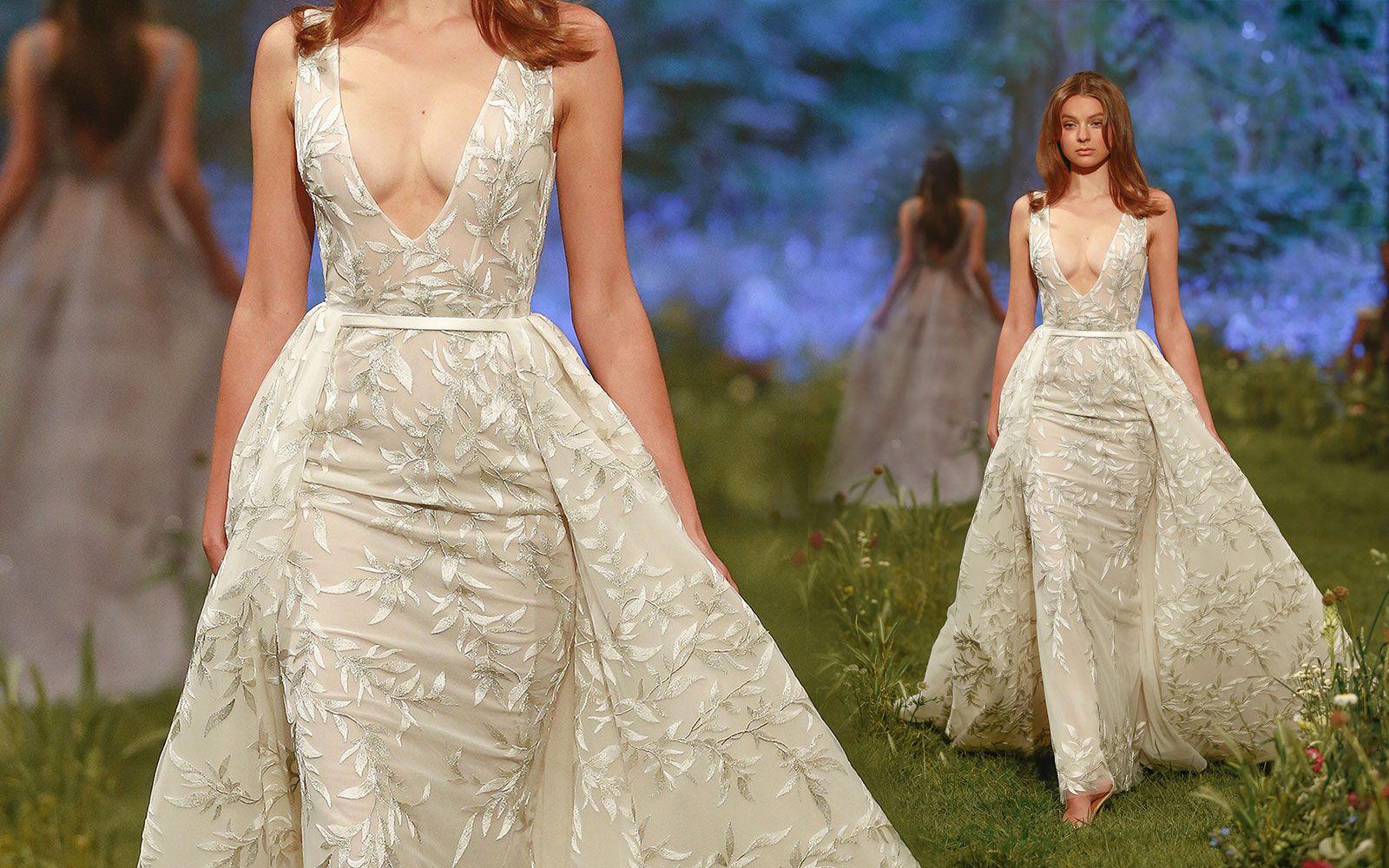 Paolo Sebastian Prom Dresses With Detachable Skirt Deep V