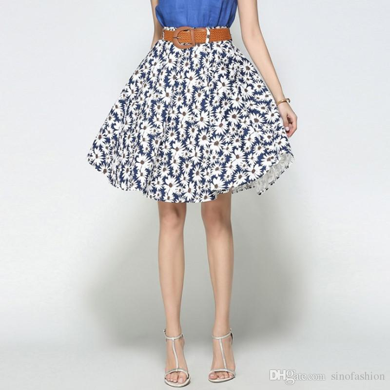 2019 Elegant Pring Skirts Party Long Skirt For Women Summer Casual High Waist Pleated Vintage Floral Dress From Sinofashion 23 12 Dhgate Com