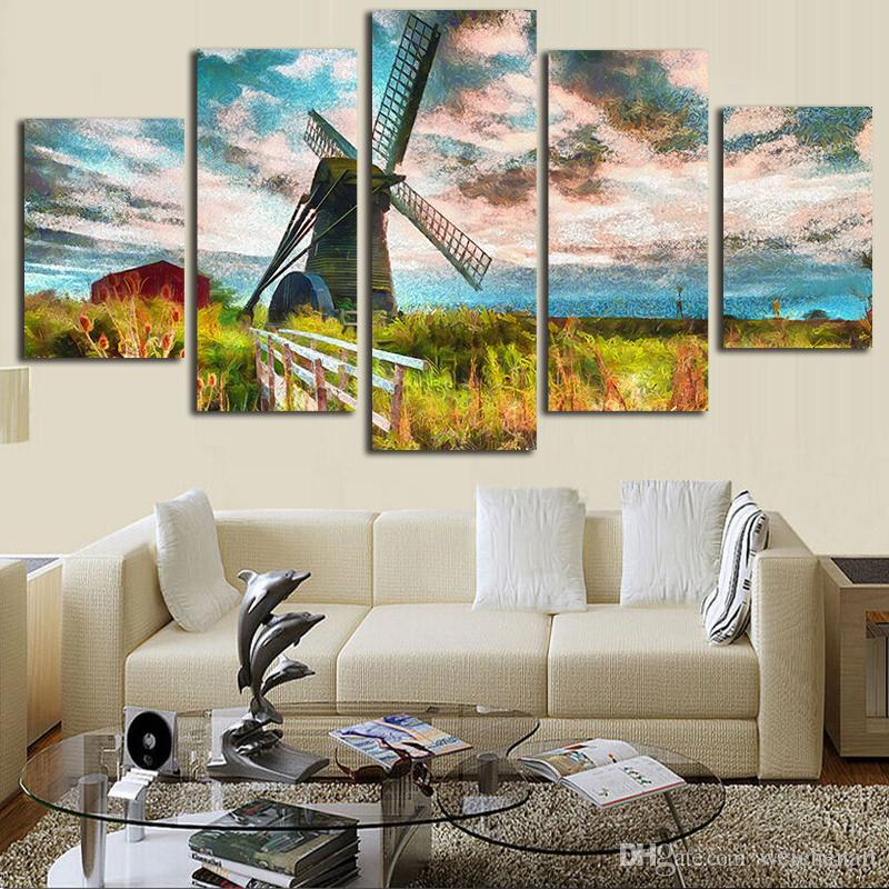 artwork for living room walls shop sets canvas abstract paintings decor wall art windmill island scenery poster prints mountains pictures framework canada 2019 from weichenart