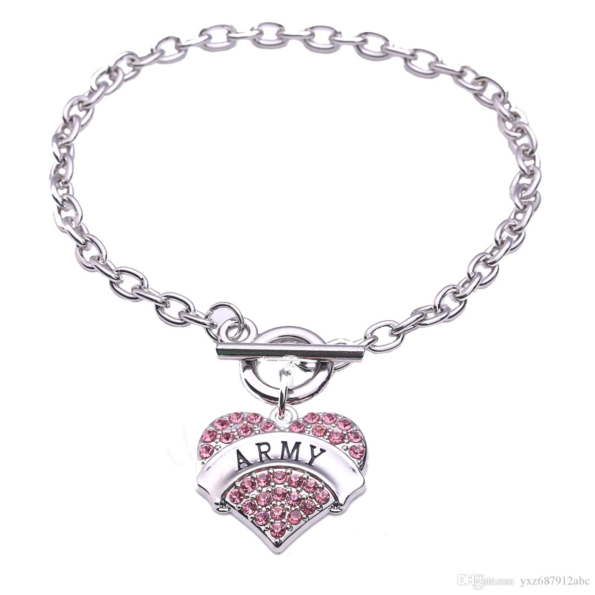 Letters Army Fashion Heart Love Rhodium Plated With Sparkling Crystals  Charm Link Chain Bracelets For Woman Jewelry Gift Letters Army Heart  Bracelets