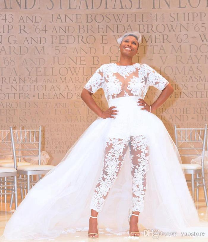 2017 New Arrival Jumpsuit Wedding Dresses With Detachable