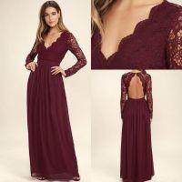 Bridesmaid Dresses 2018 Maroon Chiffon Beach with Long ...