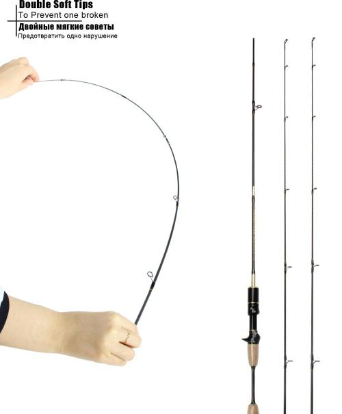 small resolution of rosewood 1 8m double tip ul fishing rod 6 3 1 ultralight baitcasting reel set and casting rod fishing combo add pole bag