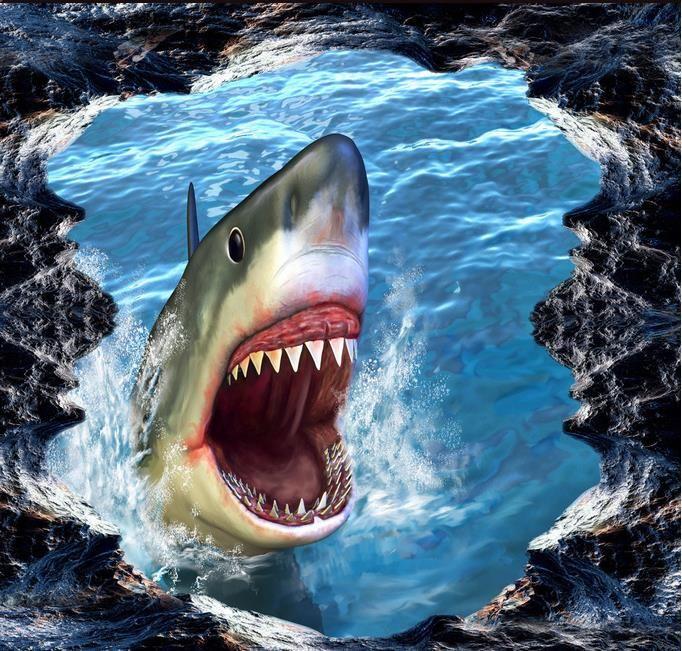 Wall Mural Wallpaper Shark 3D Three Dimensional Painting 3D Picture Desktop Wallpapers In Hd