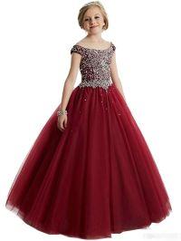 Burgundy Girls Pageant Dresses For Little Girls Blue Gowns ...