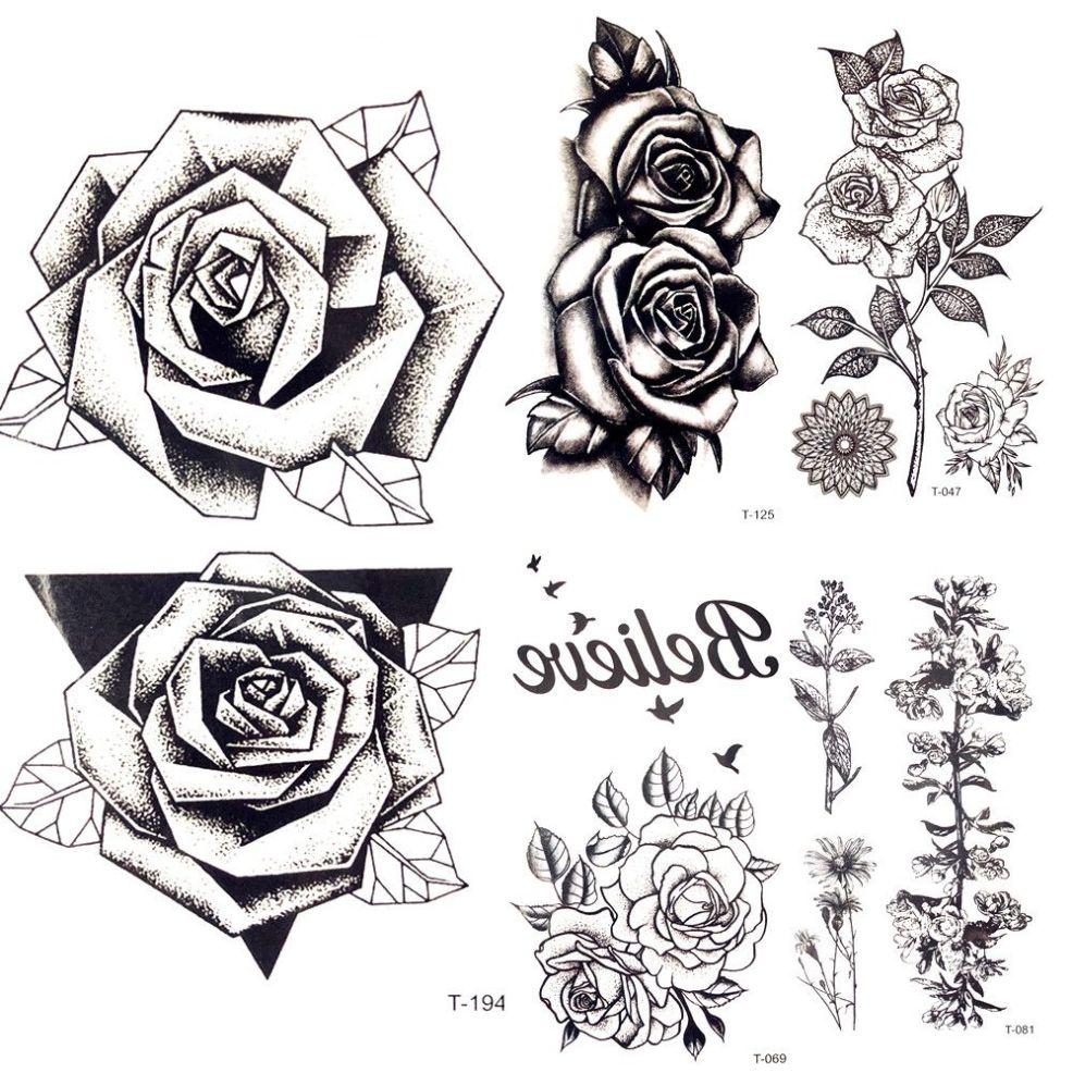 лето горячая 3d черный треугольник роза временные татуировки женщины грудь партии эскиз цветок стикер татуировки девушка тела рука поддельные Tatto