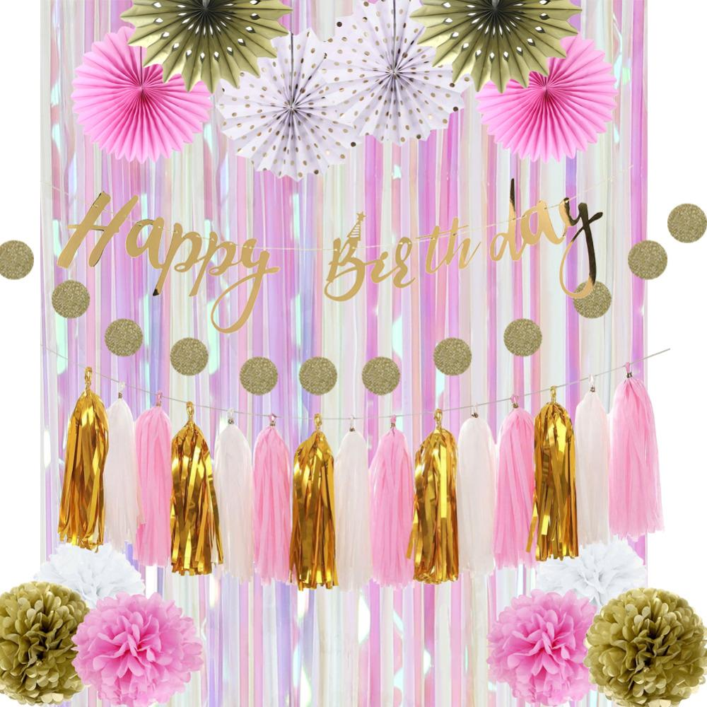 gold pink white birthday