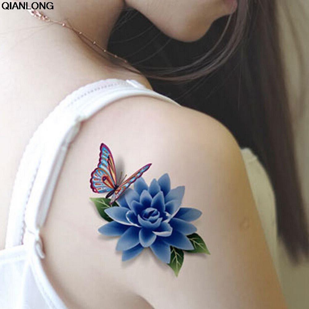 1 Hoja Moda Hombres Mujeres Falso Tatuaje 3d Hermosa Mariposa Rosa