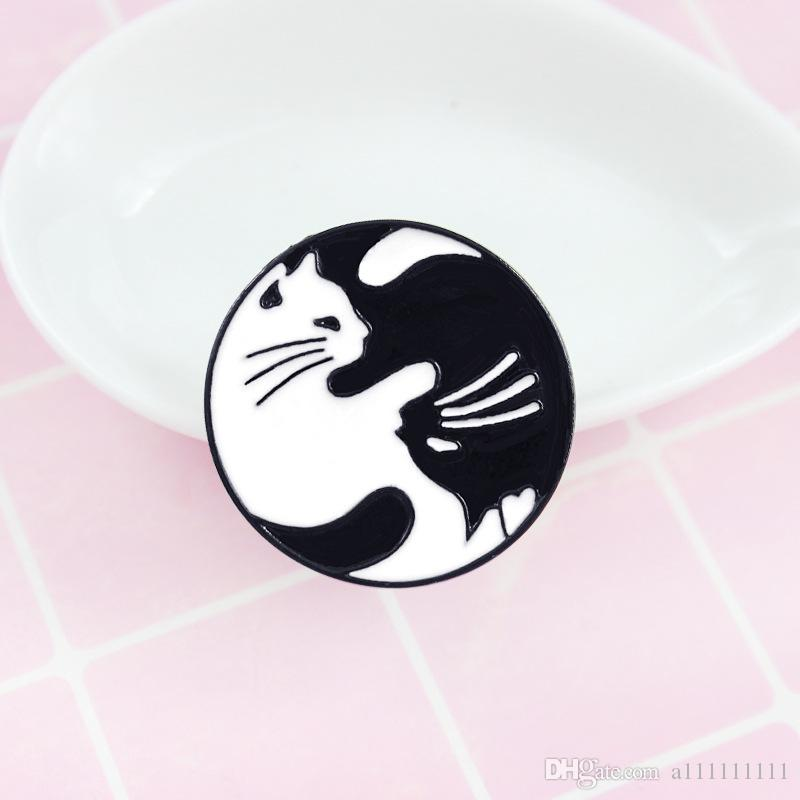 cat enamel pin black