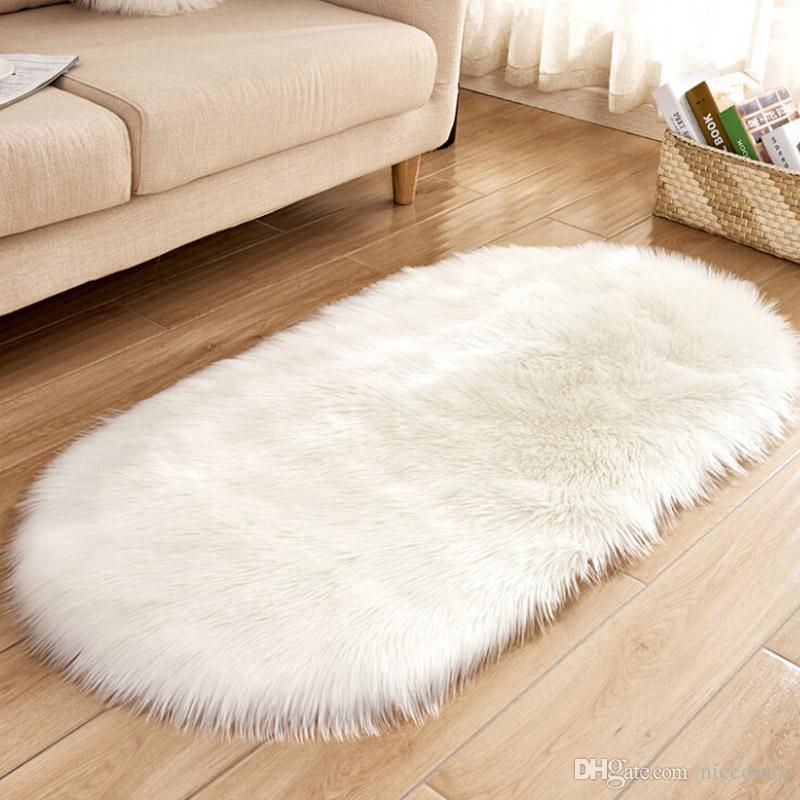 vanity chair white fur stadium for bleachers canada super soft faux fake sheepskin sofa couch stool casper cover rug solid shaggy area rugs living bedroom floor