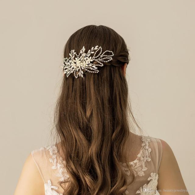 wedding hair comb for bridal sliver chian beaded pearls handmade flowers women hair accessories bijoux cheveux femme h288