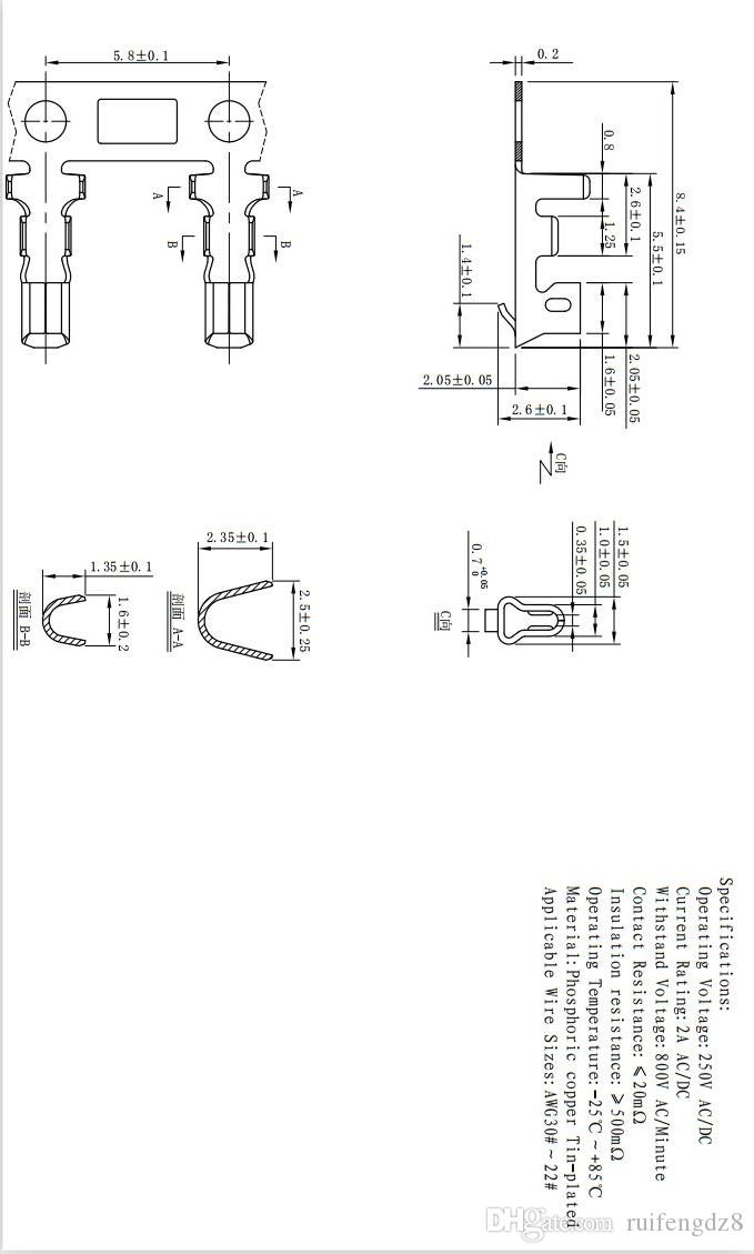 Picth=2.0mm 2~16PIN Housing To Housing Terminal Wire