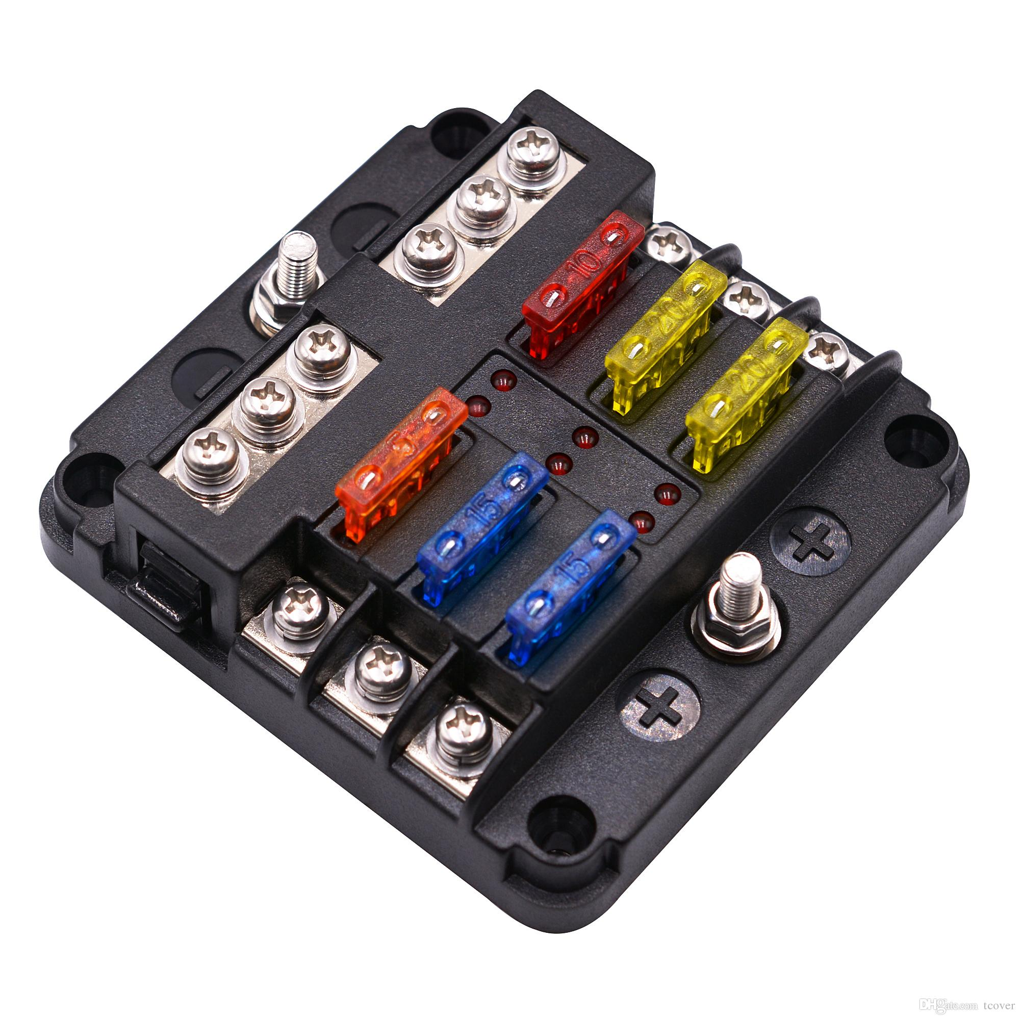 hight resolution of st blade fuse block with led warning indicator damp proof cover 6 circuits with negative bus fuse box for car boat marine rv truck 85 motorhome fuse box