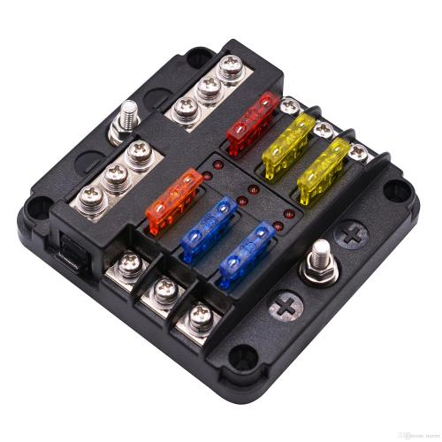 small resolution of st blade fuse block with led warning indicator damp proof cover 6 circuits with negative bus fuse box for car boat marine rv truck 85 motorhome fuse box