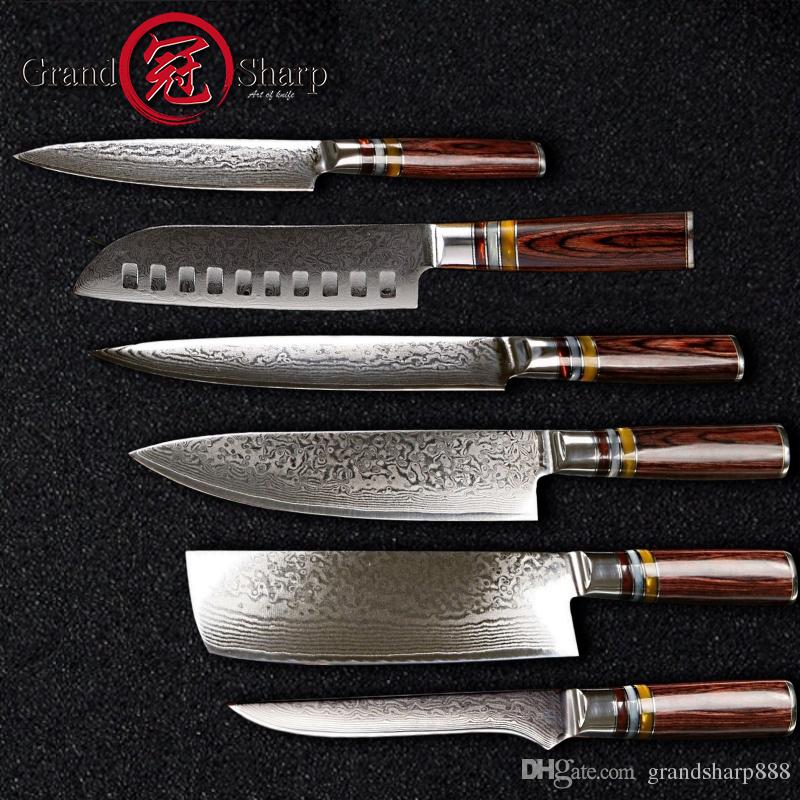 best damascus kitchen knives islands with sink chef knife set professional s vg10 japanese steel family gift grandsharp stainless