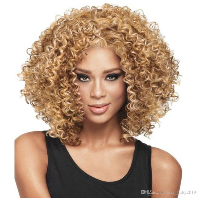 2019 best selling women afro curly short wigs 15 inch rihanna s hairstyle 100% synthetic hair elastic wig cap with hair net free shipping