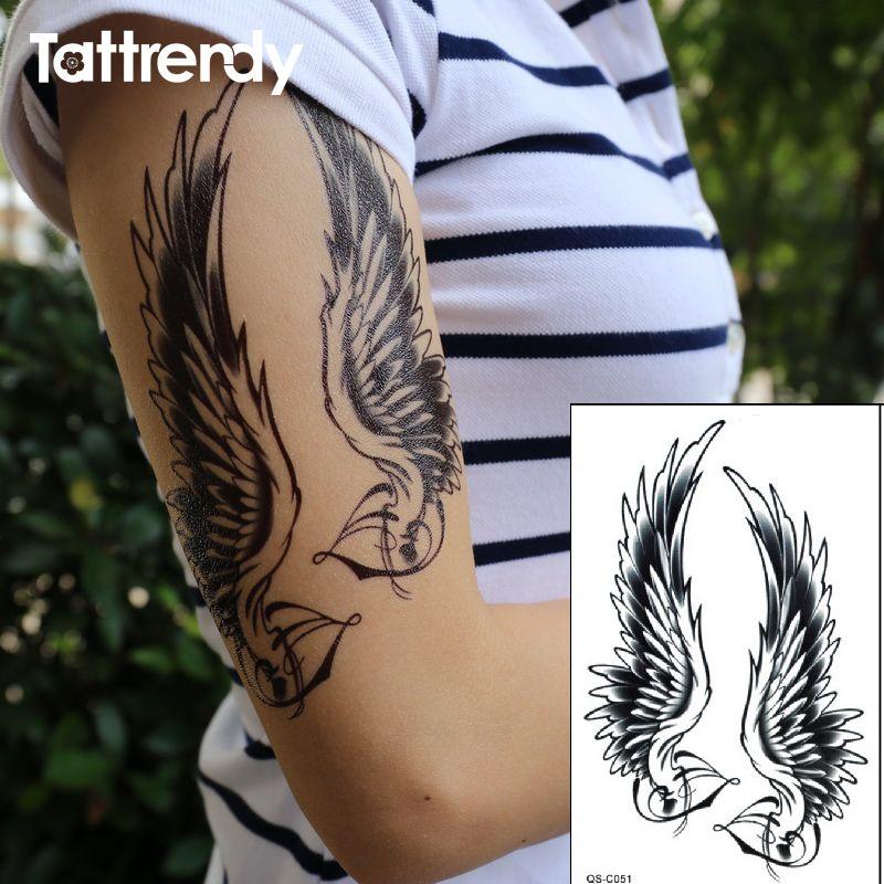 Flash Tatuaje Negro Mujeres Impermeables Sexy Hombro Brazo Alas De
