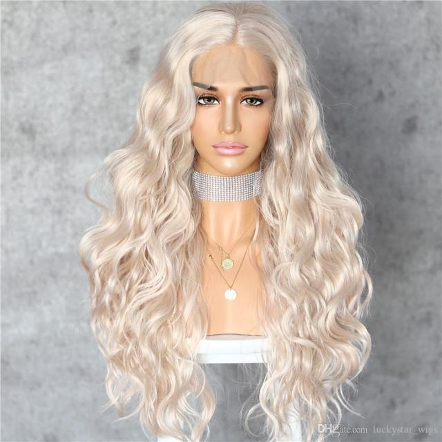 fast shipping platinum blonde natural curly wave heat resistant full hair women makeup wedding party gift synthetic lace front daily wigs