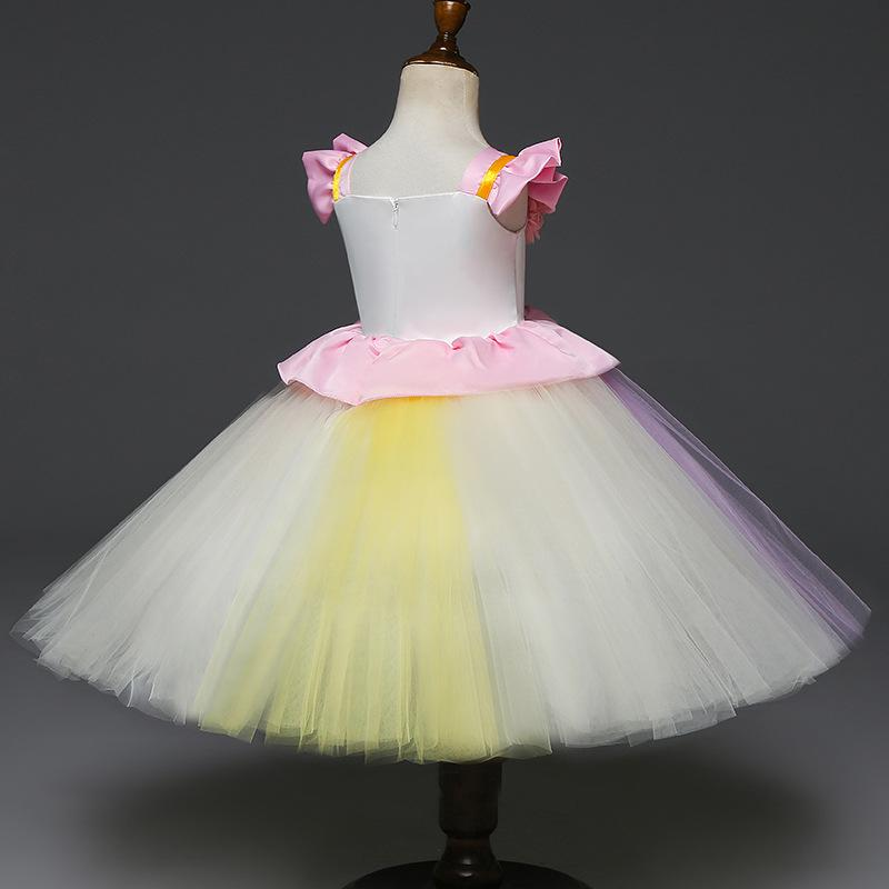 2019 Fancy Baby Girls Unicorn Colorful Dress Girl Baby Childrens