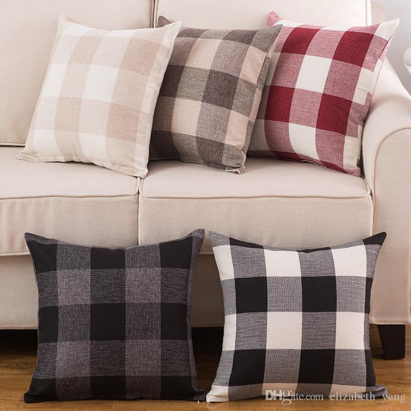 pillow covers for living room simple interior design ideas classic large lattice pillowcase natural linen home decorative plaid cover bed office cushion body silk