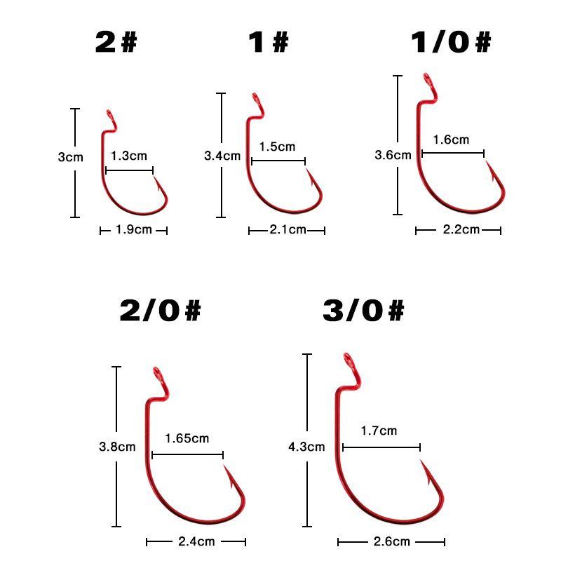 2019 /1box 2# 1# 1/0# 2/0# 3/0# Red & Black Crank Hook