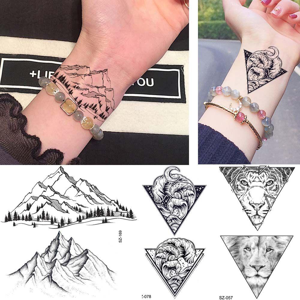 Rejaski Lindo Manos Montaña Tatuaje Pegatinas Hombres Muñeca