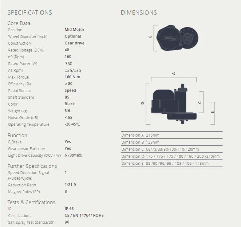 2019 48V 750W Mid Drive Motor Ebike Conversion Kits For