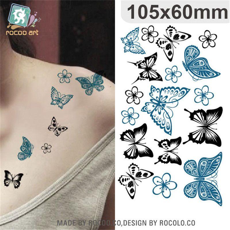 Body Art Impermeable Papel Tatuajes Temporales Para Dama Mujeres Sexy 3d Mariposa Diseño Flash Etiqueta Engomada Del Tatuaje Hc 003