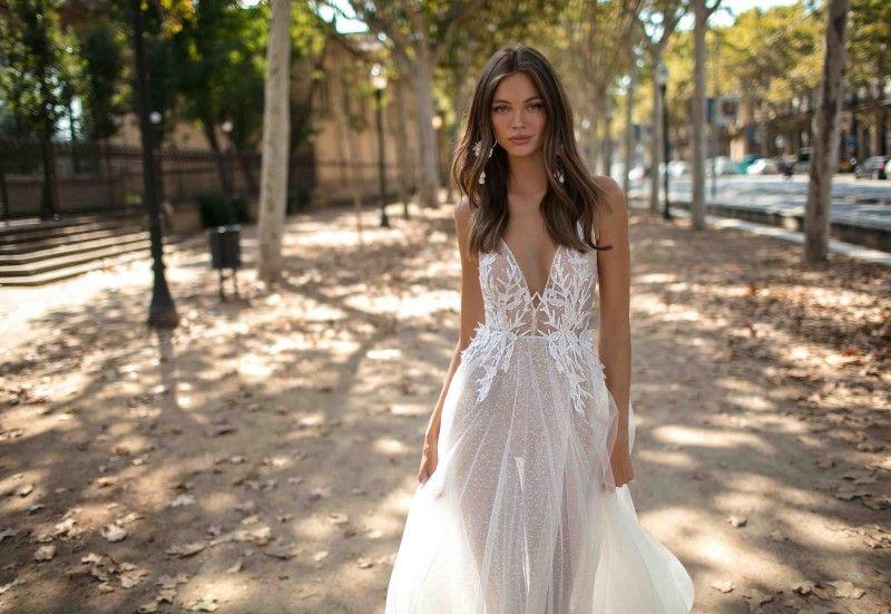 Discount 2019 Berta Modest Wedding Dresses Spaghetti Lace