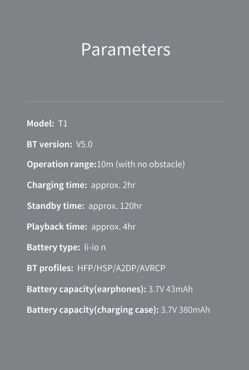 Hot QCY T1 Mini Bluetooth 5.0 Earphones Mic TWS Wireless