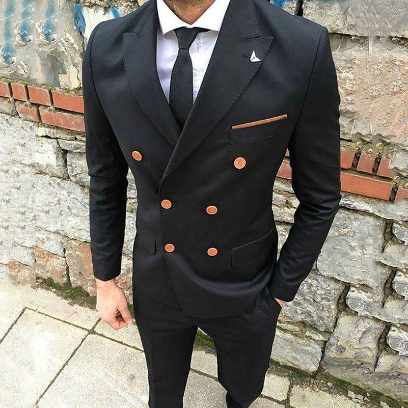 Black Mens Suits 2019 Slim Fit Smart Casual Business