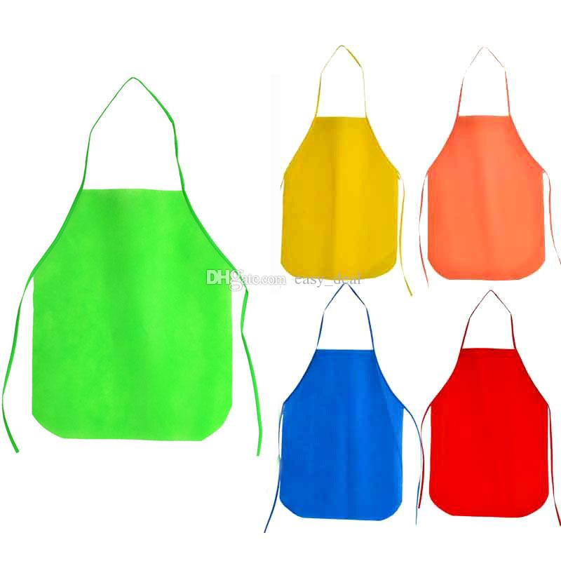 kitchen apron for kids hotels with kitchens in rooms non woven fabric children disposable aprons custom logo cooking baking painting qw9652