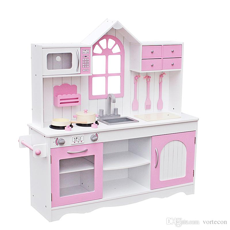 wood kitchen playsets tall narrow cabinet kids toy cooking pretend play set toddler wooden playset with kitchenware pink for christmas gifts dollhouse furniture cheap