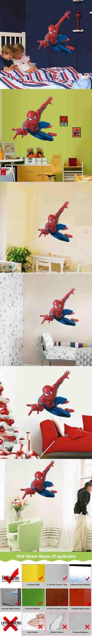 Cartoon Spiderman Wall Decal Marvel Wall Poster Vinyl Superhero Wall Art Sticker For Kids Room Boys Room Decor Marvel Spider Man Wallpaper Cheap Wall Art Decals Cheap Wall Art Stickers From Jy9146