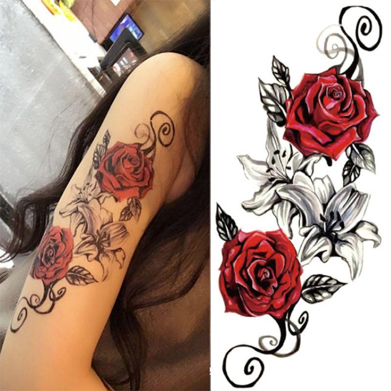 1 Unids Acuarela Fresca Henna Rose Flores Tatuaje Temporal Del
