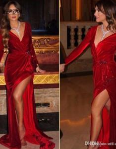 Sexy jennifer lopez celebrity dresses mermaid red deep  neck long sleeves velvet arabic evening party formal gowns dresse also rh dhgate