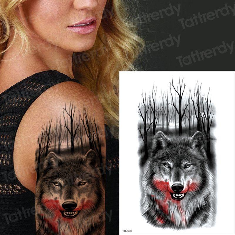 Lobo Tatuajes Temporales Para Hombres Mujeres Transferencia Tatuaje